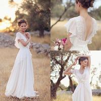 Богемный Хиппи стильные свадебные платья 2019 пляжное ТРАПЕЦИЕВИДНОЕ шифоновое с открытой спиной и v образным вырезом Свадебное платье для б