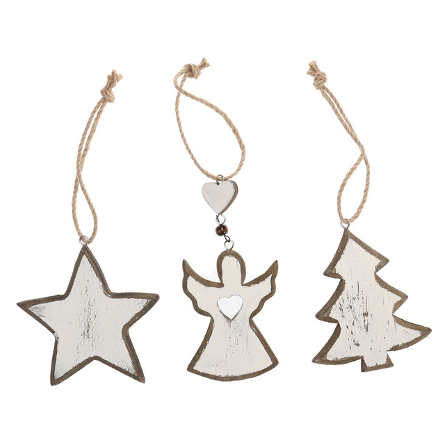 Us 506 39 Off3 Pcs Retro Wooden Christmas Tree Angel Star Crafts Hanging Ornaments For Xmas Decoration In Pendant Drop Ornaments From Home