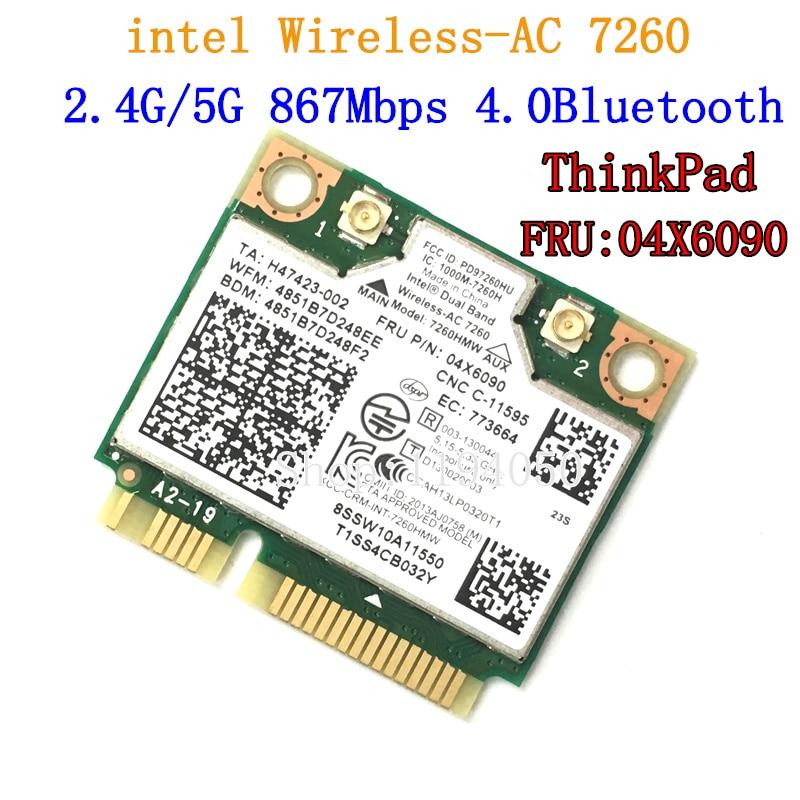Dual Band For I B M Think Pad Intel Wireless-AC 7260 7260HMW 802.11ac Mini PCI-E Wifi + Bluetooth 4.0 Wlan Card FRU 04X6090 04X6