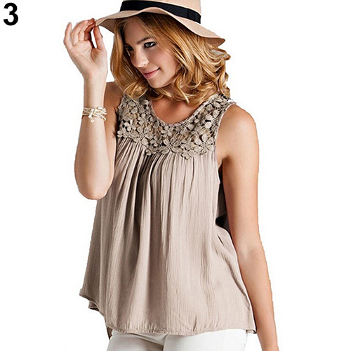 2c0a6ed4006e Women s Summer Sexy Sleeveless Lace Collar Blouse Back Bandage Vest Tops-in Tank  Tops from Women s Clothing on Aliexpress.com