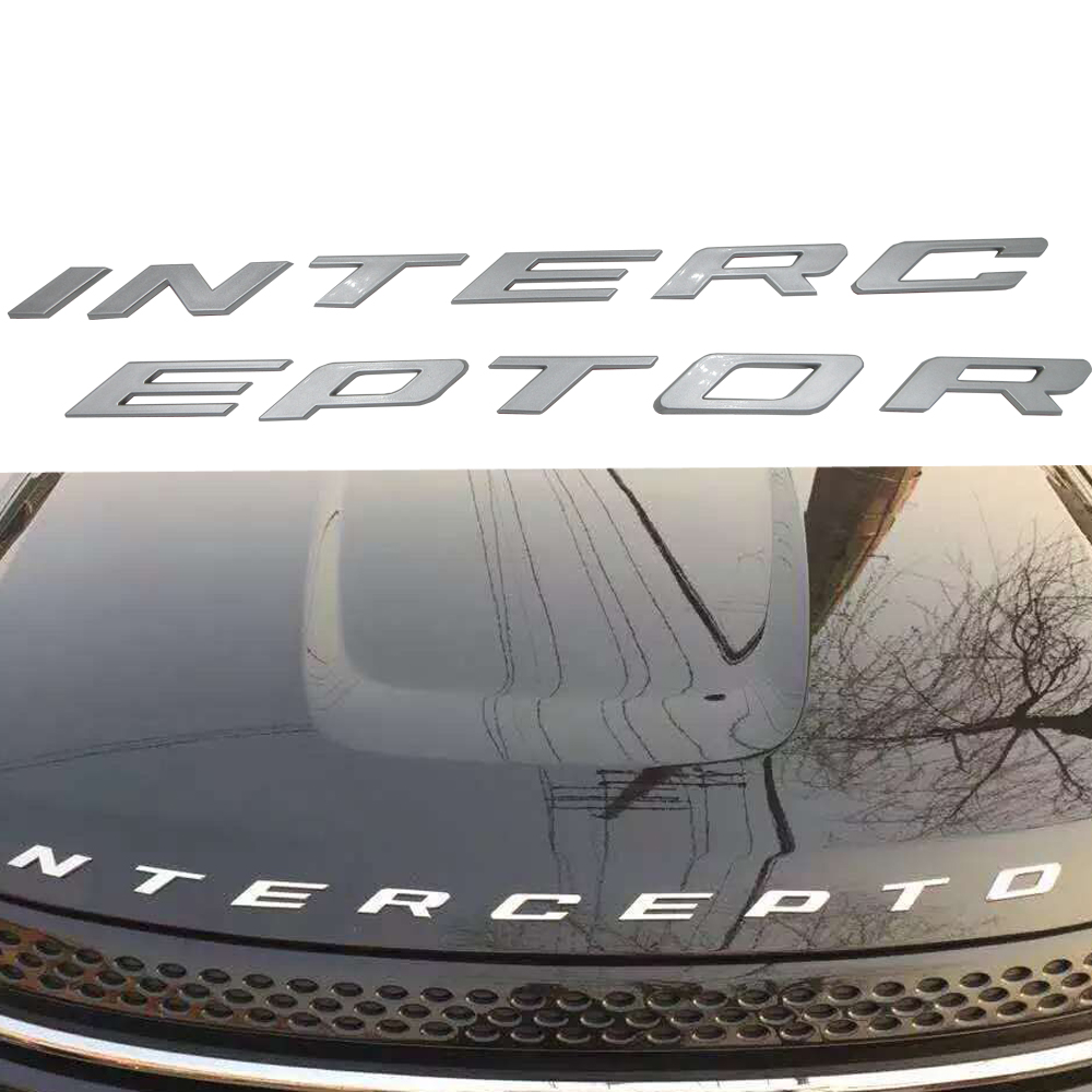 Car styling Silver/Graphite grey For Ford Crown Victoria Police Interceptor 3D INTERCEPTOR Fixed Letters Emblem Badge Sticker the silver crown