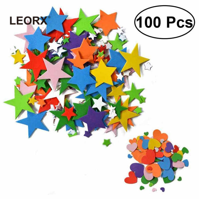 100 Pcs Kids EVA Foam Stickers Self Adhesive Foam Stickers Crafts DIY Accessory (Multicolor) Art DIY Toy