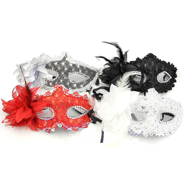 Lace Paillette Mask Masquerade Flower Carnival