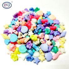 HL 200PCS/lot  ABS Resin Have Hole Handmade Beads Accessories DIY Lots Styles Mix Colors Bead Loose To Jewelry Bracelet Making