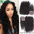 Wet And Wavy Brazilian Virgin Hair With Closure Water Wave Virgin Brazilian Curly Hair With Closure 3/4 Bundles With Closure Hot
