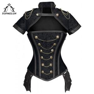Image 4 - TOPMELON Steampunk Corset Gothic Steel Boned Flora Punk Bustiers Women Cut Out Chains Buttons Corselet Short Sleeve Bustier Tops