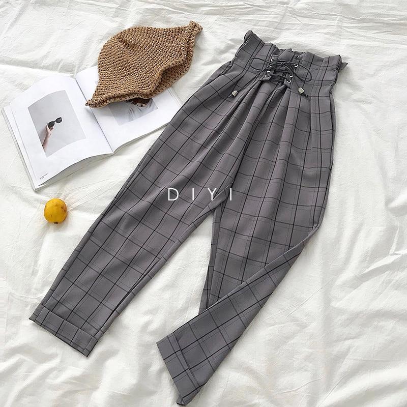 CamKemsey Japanese Harajuku Casual Pants Women 2019 Fashion Lace Up High Waist Ankle Length Loose Plaid