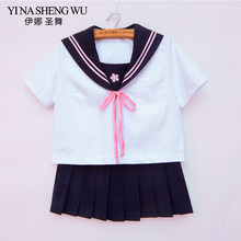 Uniforme japonés JK estudiantes Sailor Suit Set de manga corta + falda azul oscuro + lazo rosa niñas Cosplay Sailor Suit uniformes escolares(China)