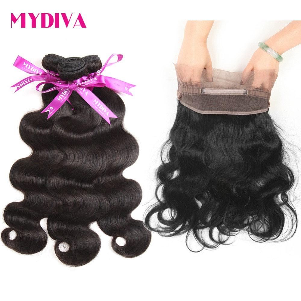 Mydiva 360 Lace Frontal With Bundles Malaysian Body Wave Human Hair With Closure Pre Plucked Lace Frontal And Baby Hair Non Remy-in 3/4 Bundles with Closure from Hair Extensions & Wigs    1