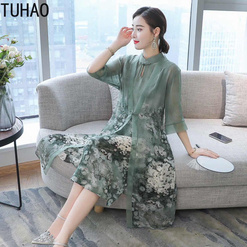 TUHAO 2019 Spring Summer Chinese Style Retro Stand Collar Dress Vintage Long  Flower Plus Size Two 232b58868