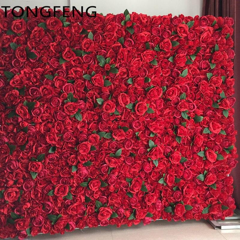 TONGFENG الزفاف 3D زهرة جدار الحرير الاصطناعي روز الفاوانيا الزفاف خلفية الديكور زهرة عداء الزفاف 10 قطعة/الوحدة الأحمر-في زهور مجففة واصطناعية من المنزل والحديقة على  مجموعة 1