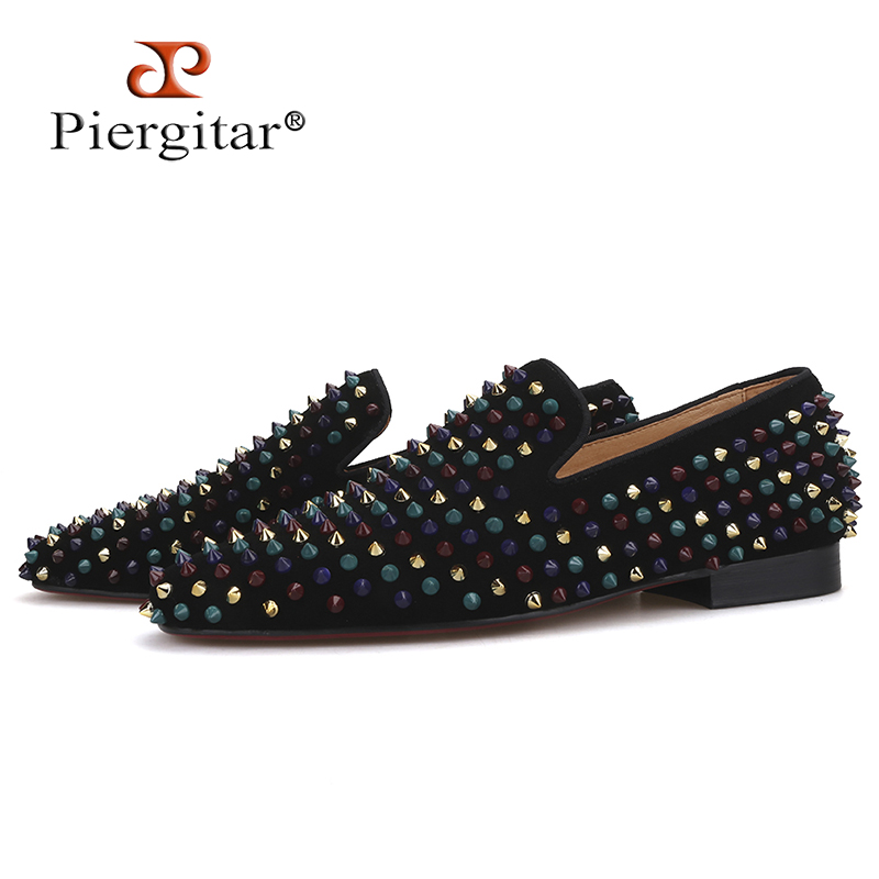 Piergitar 2019 men leather shoes with mixed colors rivets luxurious smoking slipper Prom and Banquet men