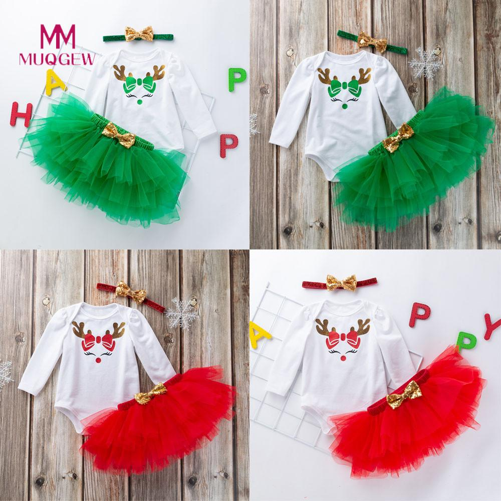 Baby Girl Clothes MUQGEW Long Sleeve O-neck Newborn Infant Baby Girls Christmas Romper+Tutu Skirt Jumpsuit Outfits Baby Suit