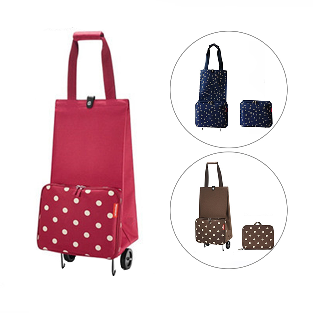 On Wheels Tug Package With Handle Labor Saving Foldable Shopping Bag Large Capacity Portable Pull Cart Multifunction Durable