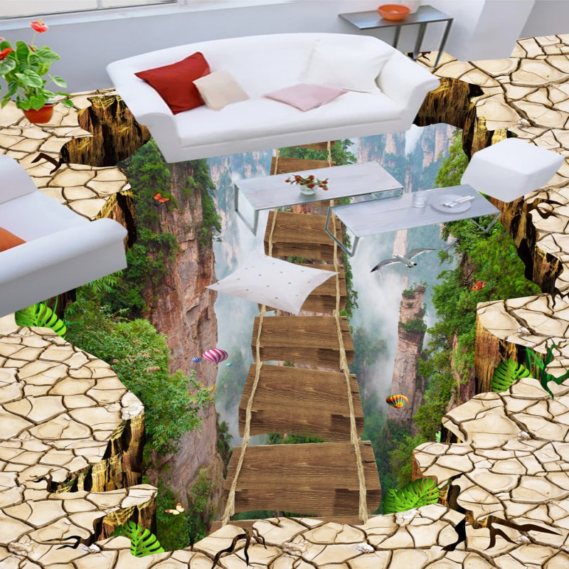Free Shipping Mountain cliff flyover valley floor painting wallpaper office kitchen waterproof floor mural cliff нк 302 40