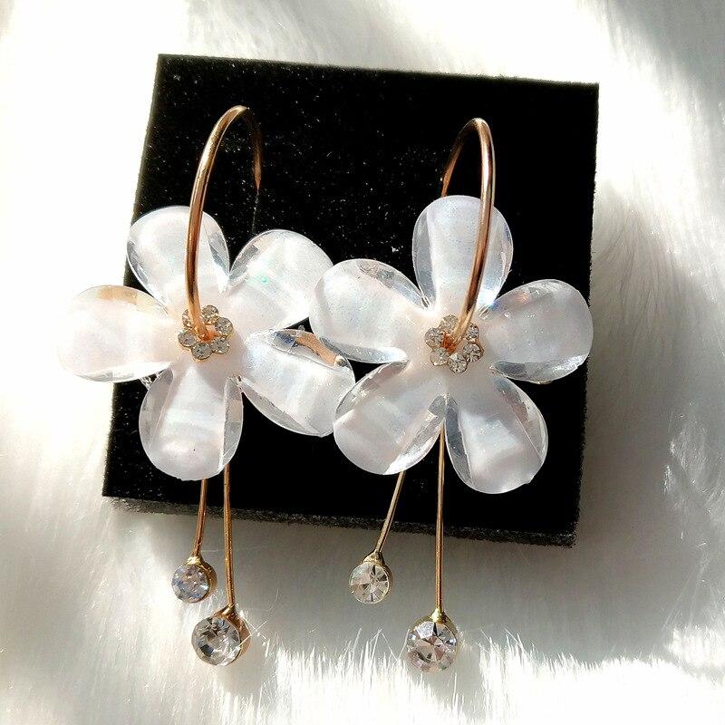 New Korean zircon tassel earrings circle transparent earrings Brincos 2017 Oorbellen sunflower earrings Orecchini