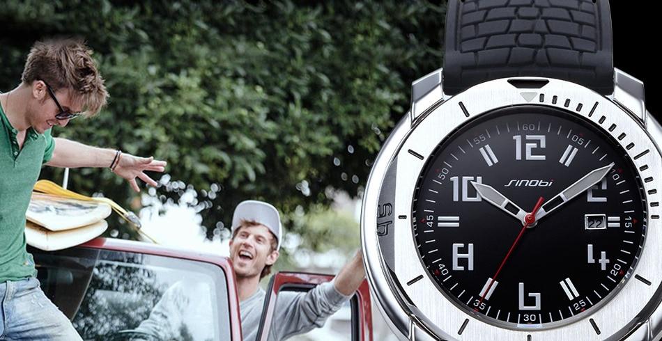 SINOBI Surfing Clock 3Bar Waterproof Watch Mens Sports Wristwatch Designer Branded Chronograph Male Spy Geneva Quartz-watch 007 5