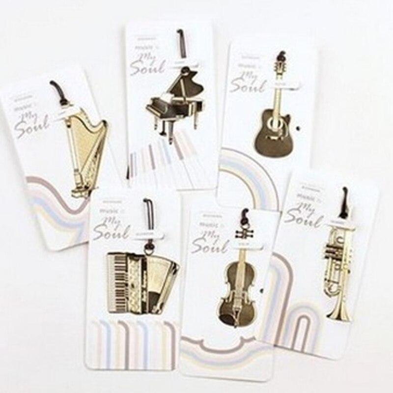 guitar bookmark Creative bookmarks metal marcador de livro Musical Instruments marcador segnalibro papelaria cute(China (Mainland))