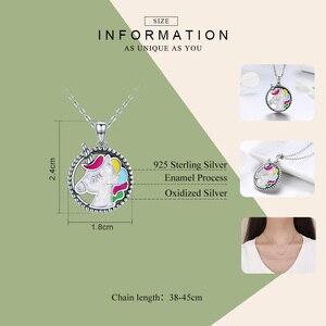 Image 3 - WOSTU Heißer Verkauf 925 Sterling Silber Bunte Licorne Anhänger Choker Halskette Für Frauen Mädchen Schmuck Hochzeit Geschenk CQN266