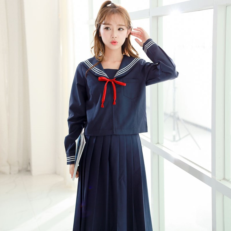 Japanese/Korean Sailor Suit Cosplay Costumes School Uniforms Cute Girls JK Student Clothing Top+Skirts+bow Or Tie