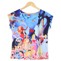 2016 Hot Sales Animal World Style Pattern Print Women T-Shirt O-Neck Style White Casual T-Shirt Women's Summer Tee Tops