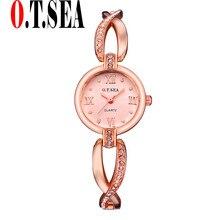 New Arrive O.T.SEA Model Rose Gold Bracelet Watches Ladies Women Costume Quartz Wristwatches 17515
