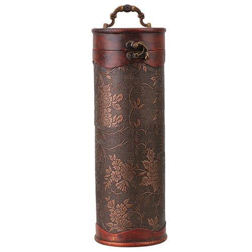 Cylinder Vintage Retro Wooden Vintage Wine Bottle Storage Gift Box