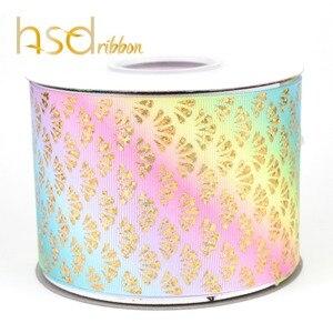 Image 5 - HSDRibbon 75MM 3 pulgadas escalas clásicas patrón holograma Arco Iris hoja de oro cinta de grosgrain estampada