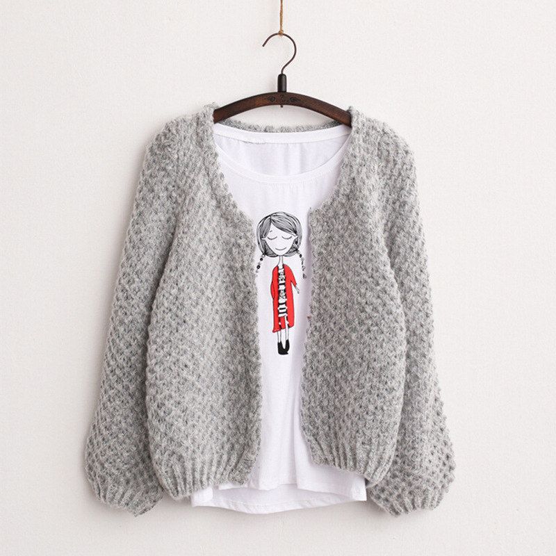 Free shipping 2017 Autumn New Solid Color Women short Cardigan Crochet Casual Knitted Co ...