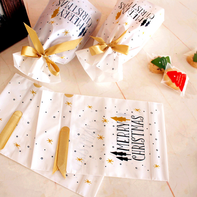 10pcs Treat Bags Gold Print Drawstring Plastic Favor Gift Pouch Candy Cookie Bag