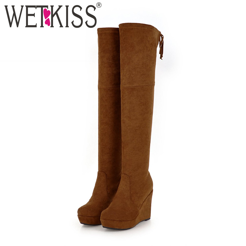 WETKISS Winter High Heels Women Boots Over The Knee Round Toe Wedges Footwear Stretch Female Boot