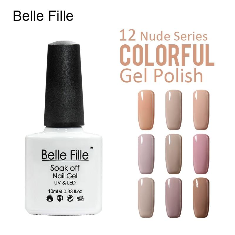 """""""Belle Fille Gel"""" nagų lakas """"Nude Colors"""" nagų lako manikiūro želė UV LED lempos nagų gelis pilkos nagų mirkymo nude rožinės spalvos geliai"""
