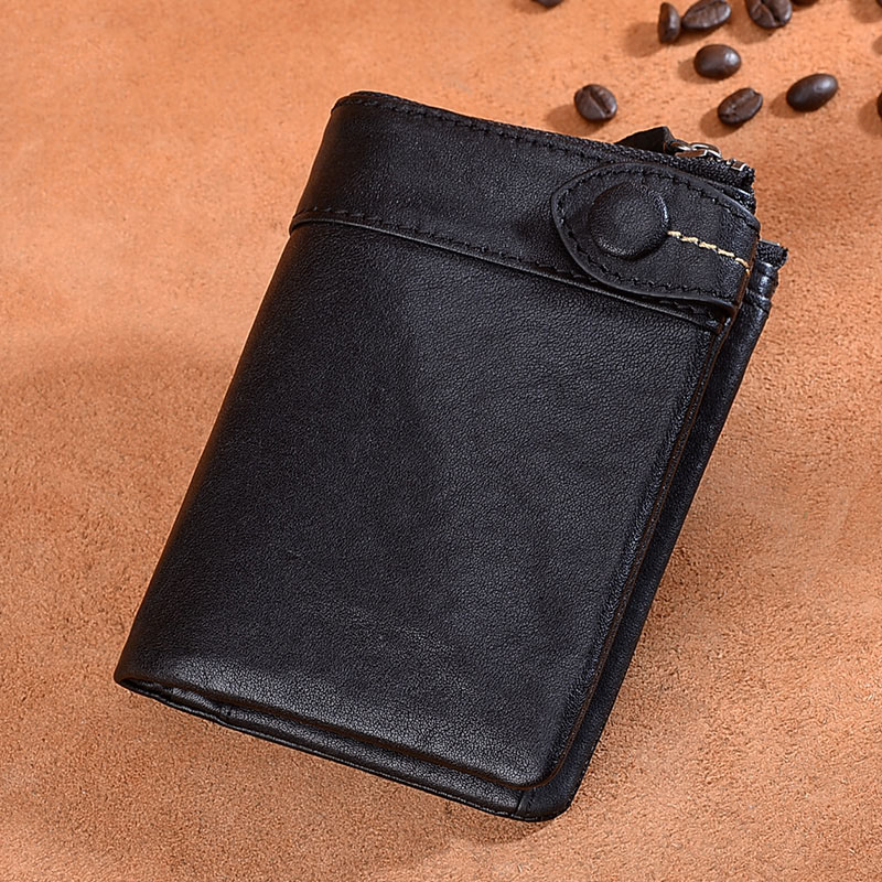 Difenise Vintage Genuine Leather Men Wallets Small Zipper Men Wallet Clutch Male Short Coin Purse Trifold Brand Cowhide Purse hot genuine leather men wallets long zipper coin purse 2018 luxury brand vintage male clutch cowhide leather wallet card holder
