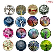 12 Pcs Beautiful Tree Fridge Magic Magnet Refrigerator Stickers Home Decoration Glass Photo Whiteboard Sticker