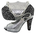New Fashion graceful Silver African Women Shoes And Matching Bag For Wedding Or Party Italy Fashion Design Size 38-43 MM1027