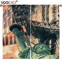Tratamentos de janela Cortinas 2 Painéis, Americano Decoração Cenário da Rua Da Cidade de Nova Iorque Estátua Da Liberdade E Da Bandeira Dos Eua A Liberdade Da Tocha