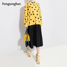 Hongsonghan 2019 Casual loose Spring dress new Korean style womens lapel collar dot pattern chic splicing pleated tide