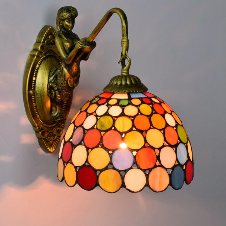 Tiffany Baroque vintage Stained Glass Iron Mermaid wall lamp indoor lighting bedside lamps wall lights for home AC 110V/220V E27 american vintage 2 heads wall lamp indoor lighting bedside lamps double wall lights for home 110v 220v e27