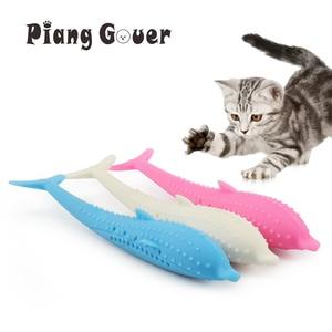 Image 1 - רך סיליקון מנטה דגי חתול צעצוע Catnip חיות מחמד צעצוע שיניים נקיות מברשת שיניים ללעוס חתולי צעצועים