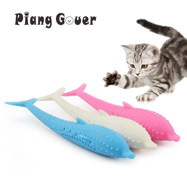 רך סיליקון מנטה דגי חתול צעצוע Catnip חיות מחמד צעצוע שיניים נקיות מברשת שיניים ללעוס חתולי צעצועים