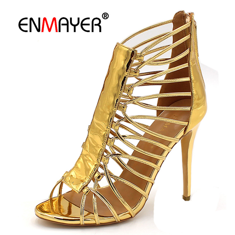 ENMAYER Cuts-out Summer Pumps Shoes Woman High Heels Peep Toe Golden Shoe Plus Size 34-46 Sexy Party Shoes Ladies newest summer style woman pumps shoes high quality ladies high heels basic shoes for party free shipping size 37 43