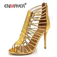 ENMAYER Cuts-out Summer Pumps Shoes Woman High Heels Peep Toe Golden Shoe Plus Size 34-46 Sexy Party Ladies