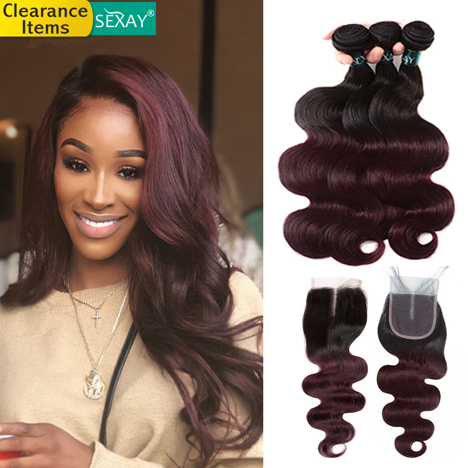 Body Wave Burgundy Bundles With Closure 4pcs 1b/99j Burgundy Brazilian Hair Weave Ombre Human Hair Bundles With Closure Non Remy
