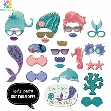 Kids Girl Birthday Party Decoration Supplies Photo Booth Props Summer Wedding Mermaid Party Photobooth DIY Kits Favor Gifts