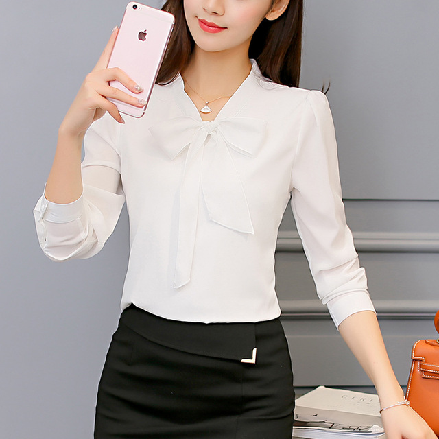 Women Long Sleeve Shirts Fashion Leisure Chiffon Shirt Bow Office Ladies Pink White Tops 3