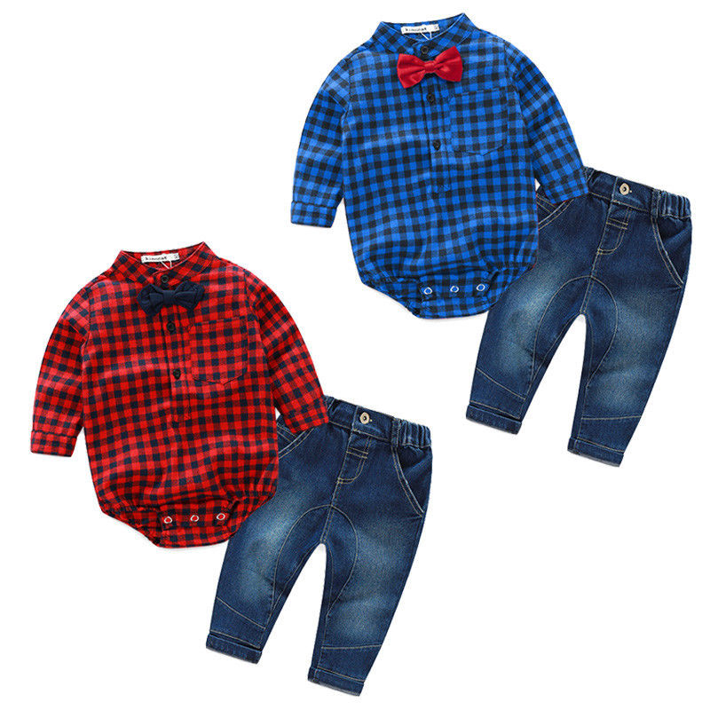 Newborn Infant Baby Boys Clothes Long Sleeve Plaid Romper Tops+Jeans Pants 2PCS Outfits Bebes Clothing Set Gentleman Suit puseky 2017 infant romper baby boys girls jumpsuit newborn bebe clothing hooded toddler baby clothes cute panda romper costumes