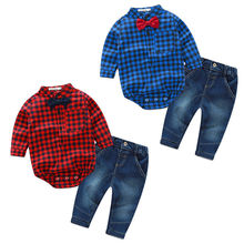 Nouveau-né Infantile Bébé Garçons Vêtements À Manches Longues Plaid Barboteuse Tops + Jeans Pantalon 2 PCS Tenues Bebes Vêtements Set Gentleman costume