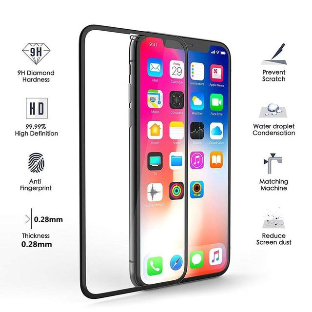 Curved Edge Full Cover Phone Screen Protector For iPhone 7 6 6S 8 Plus Tempered Glass On iPhone X XS Max XR Protective Glass