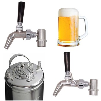 304 Stainless Forward Sealing Faucet with Stainless Ball Lock Quick Disconnect For Cornelius Keg Homebrew Kegging Kit