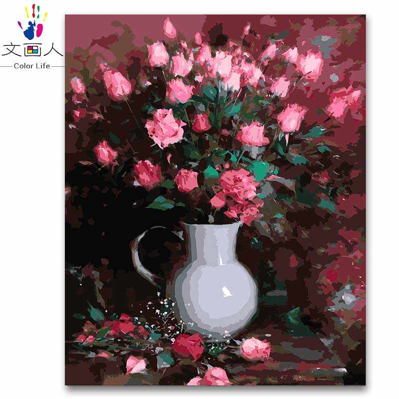 Red Rose white vase flowers oil painting by numbers classical flowers canvas oil paint coloring by numbers for modern decoration
